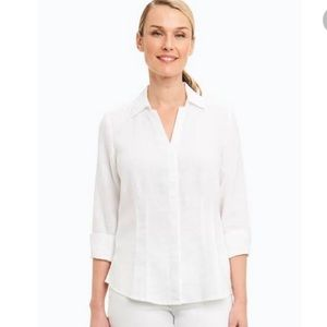 Foxcroft White Linen Button Down Shirt